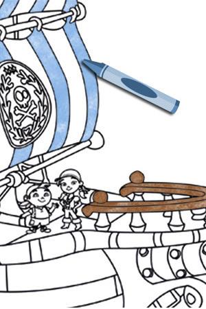 Colorea el barco de Jake