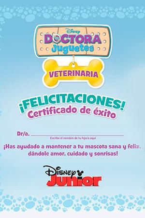 Certificado de mascota sana y feliz - Doctora Juguetes: Veterinaria